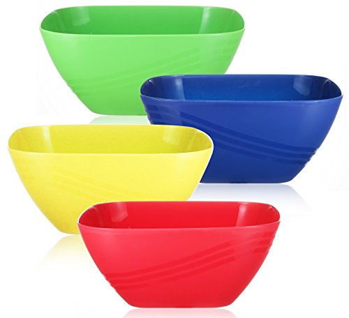 Set of 4 - Large Plastic Serving Bowls, Reusable Colorful Square Mixing Bowl, for Parties Side Dishes, Snack and Salad, Unbreakable Popcorn Party Tub Bucket,152-OZ, Assorted Colors -