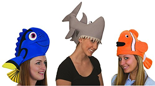 [Adult Tropical Ocean Fish and Shark Hat Family Friends Bundle Set of 3] (Gill Man Costume)