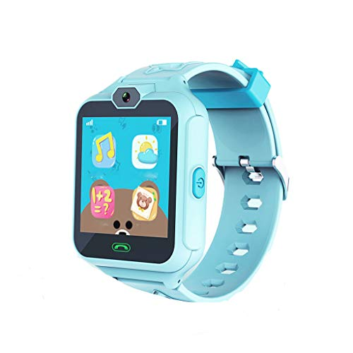 QIUSge Sport Watch Child Smartwatch for Children with Call Alarm Clock with Android App, to Care Your Baby More (Blue)