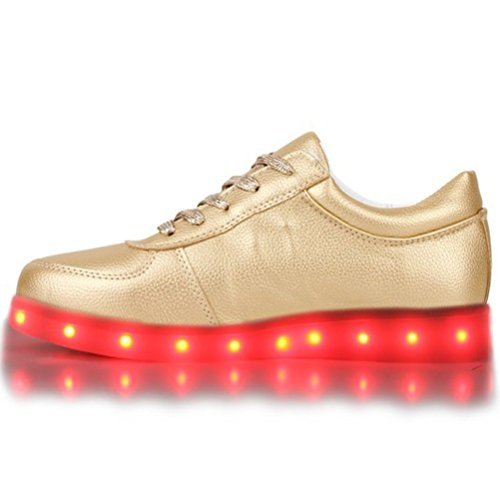 [Present:kleines Handtuch]JUNGLEST® Blinkende Damen Sneakers Led Light Far Gold