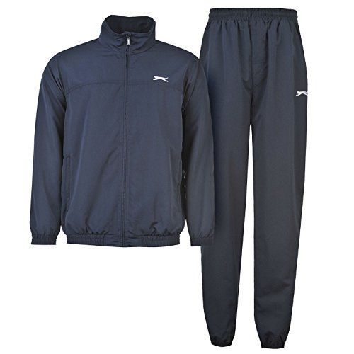 Slazenger Mens Woven Suit Tracksuit Long Sleeve Zip Top and Bottoms Navy Large