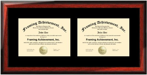 amazoncom horizontal double certificate dual diploma frame single black matted university double degree framing document plaque satin rich mahogany