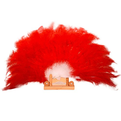 Showgirl Costumes For Sale (Misaky Wedding Showgirl Dance Elegant Large Feather Folding Hand Fan Home Decor (Red))