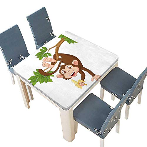 PINAFORE Polyester Tablecloths Beach Pool Coon CollectionFunny Monkey from Tree Holding Banana Jungle Animals Theme Banquet Wedding Party Restaurant Tablecloth 69 x 69 INCH (Elastic Edge)]()