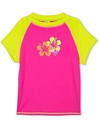 LAGUNA Girls Hibiscus Flower Cap Sleeve Fitted Rashguard Swim Tee Shirt, UPF 50+, Pink/Yellow, 7/8