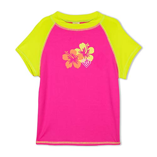 LAGUNA Girls Hibiscus Flower Cap Sleeve Fitted Rashguard Swim Tee Shirt, UPF 50+, Pink/Yellow, 5/6