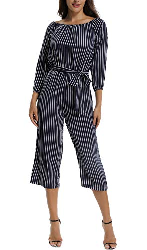 MISS MOLY Rompers for Women Long Sleeves Boat Neck Off The Shoulder Strapless Mid Rise Casual Jumpsuit w ()