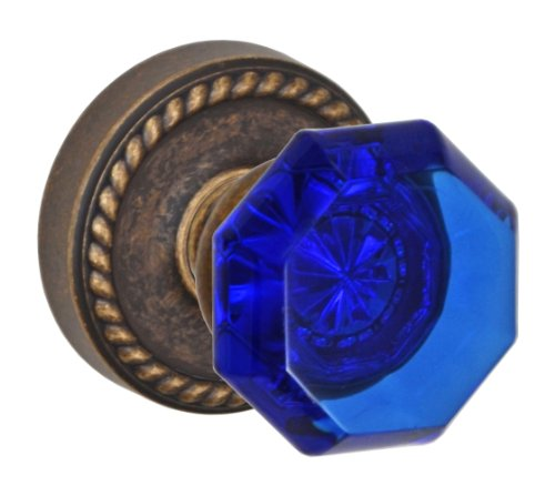 Victorian Cobalt Glass (Fusion Hardware P-23-Z8-0-MDB Elite Collection Victorian Cobalt Glass Passage Knob with Rope Rose, Fullset/Pair, Medium Bronze)