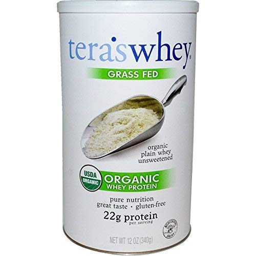 teraswhey Grass Fed Organic Whey Protein, Plain, 12 Ounce (Best Homemade Protein Shakes For Building Muscle)