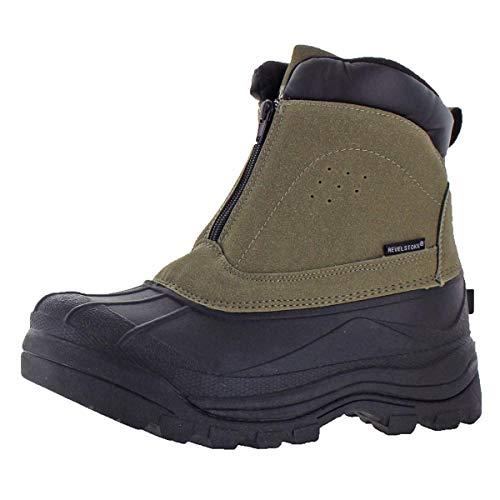 - Revelstoke Men's Halifax Waterproof Zipper Ankle Snow Boot Black Brown Size 8
