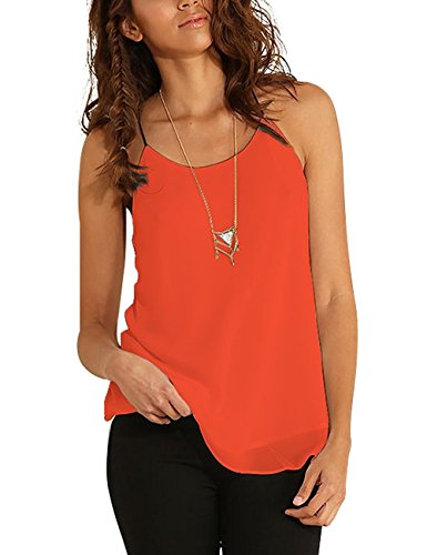 OURS Women's Spaghetti Strap Chiffon Layered Cami Tank Top Casual Solid Blouse (L, (Layered Spaghetti Strap)