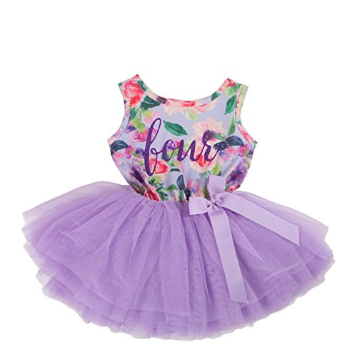 Grace & Lucille Hand Printed Toddler Birthday Dress (4th Birthday) (Purple Floral Sleeveless, Purple, 4T) ()