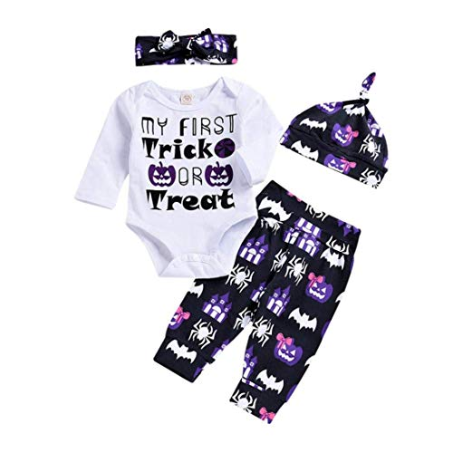 Xmas gift Baby Girls Boys Halloween Clothes Kid Newborn Terror Spider Print T-Shirt Bodysuit Long Sleeve Pants Outfit Set (Baby Girls Boys Halloween Outfit, 70(0-6 Months)) -