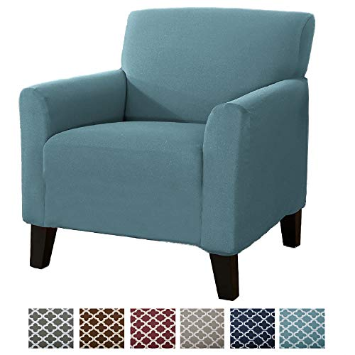 Home Fashion Designs Printed Stretch Arm Chair Furniture Cover Slipcover Brenna Collection, Smoke Blue - ()
