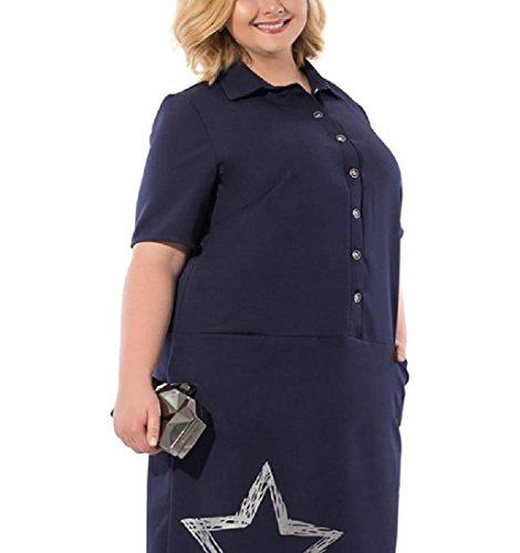 Coolred Print Size Letter Women Pattern Dark Plus Dresses Star Button Blue Down SHUqSr