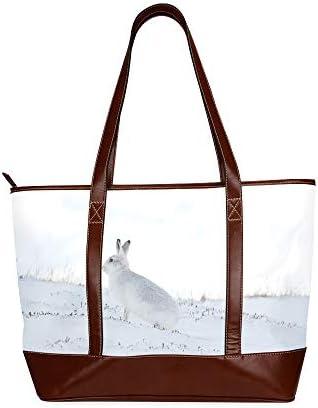 QIAOLII Froid hiver neige lapin fourre-tout sac à bandoulière dame sac à main grande capacité imprimé plage fourre-tout sac avec fermeture éclair poignée supérieure
