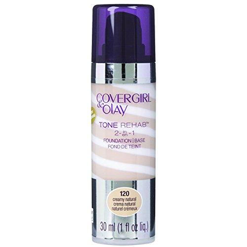 COVERGIRL and Olay Tonerehab 2-In-1 Foundation, Creamy Natural 120, 1 Fluid Ounce