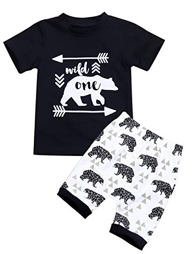 Toddler Baby Boy Clothes Wild One Cool Black T-Shirt+Cute Bear Pattern Print Shorts 2pcs Outfit Set(18-24months -