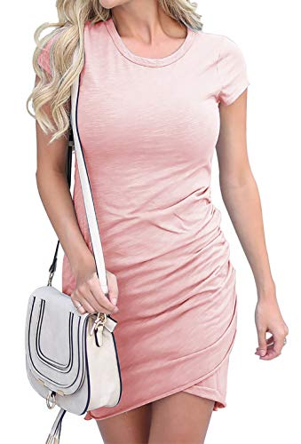 BTFBM Women's 2019 Casual Crew Neck Ruched Stretchy Bodycon T Shirt Short Mini Dress (104Pink, -