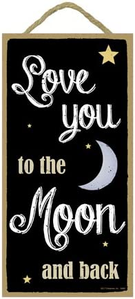 SJT ENTERPRISES INC SJT94662 SJT94662 Love You to The Moon and Back 5 x 10 Primitive Wood Plaque Sign INC Love You to The Moon and Back 5 x 10 Primitive Wood Plaque Sign