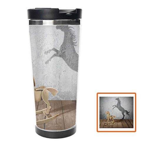 Trojan Horse and Back Water Bottle Stainless Steel Insulated Travel Coffee Mug,16oz, Double Wall Travel Tumbler Perfect for Hiking, Camping & Traveling ()