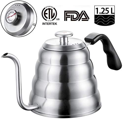 Stainless Steel Tea Coffee Kettle, with Thermometer for Exact Temperature, Gooseneck Thin Spout for Pour Over Coffee, Works on Induction Stovetop for Fast Water heating,40 oz (1.25L)