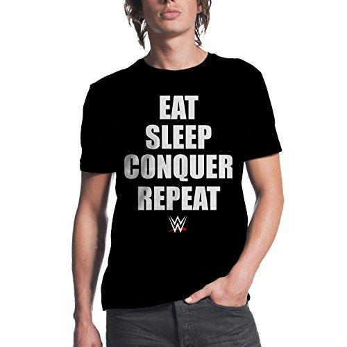 WWE Brock Lesnar Eat Sleep Conquer Repeat Mens Black T-shirt XL