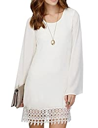 Ubling Womens Long Sleeve Casual Lace Trim Solid Chiffon Dress