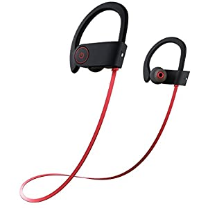 Bluetooth Headphones,SHREBORN Best Wireless Sports Earphones with Mic IPX7 Waterproof Sweatproof HD Noise Cancelling In Ear Earbuds Headsets for Gym,Running,Workout Etc (red)