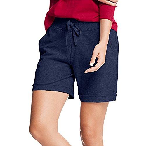 Hanes Womens French Terry Bermuda Pocket Short Navy