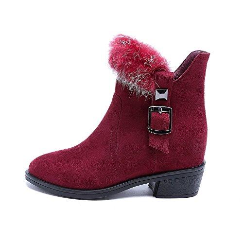 VogueZone009 Damen Blend-Materialien Schließen Zehe Niedrig-Spitze Stiefel Rot-Schnalle