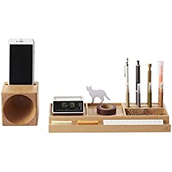ZENS Lifestyle Wooden Desk Organizer with Expendable Phone Holder, Space Saver for Office Supplies, Pens Holder, Papers, Accessories Storage