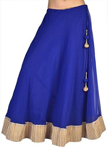 Hazle Avenue Women's Broomstick Solid BlueBohemian Vintage Skirt