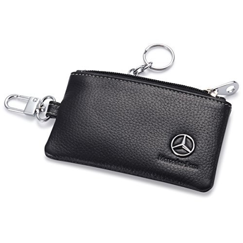 y Holder Remote Cover Fob with 1 Metal Keychain - Genuine Leather ()