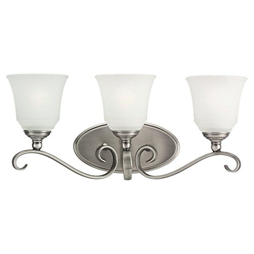 Sea Gull Lighting 44381-965 Bath Bar, Satin Etched Glass Shades and Antique Brushed Nickel, 3-Light (965 Parkview 3 Light)