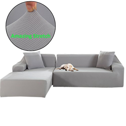 (Taiyucover High Elasticity Kinitted Stripes L-Shaped Sofa Slipcovers;Jacquard Queen Royal L Shape Covers;Left Right Facing Sectional Protectors (Silver Grey, L-Shaped(2 Seater+2 Seater)))