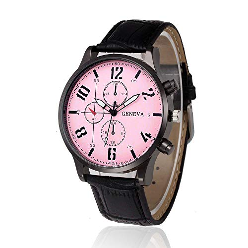 Larmly Retro Design Leather Band Analog Alloy Quartz Wrist Watch Pink Dial(Black)