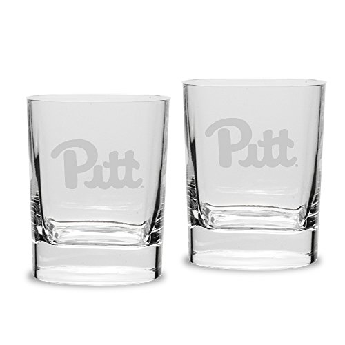 NCAA Pittsburgh Panthers Adult Set of 2 - 14 oz Square Double Old Fashion Glasses Deep Etched Engraved, One Size, Clear - Panthers Square Pittsburgh