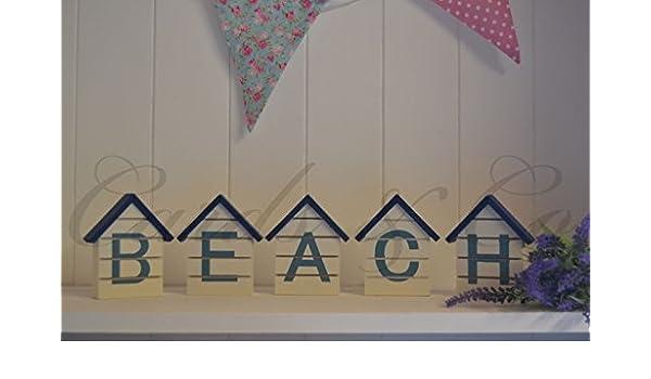 Caseta de playa Bloques de madera de la carta náutica de sesión Mar Azul-Blanco elegante lamentable Nueva: Amazon.es: Hogar