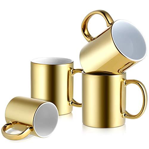 LIFVER 12 Ounces Coffee Mugs Set, Large Handle Mugs for Housewarming Gift, Electroplated Gold, Set of 4