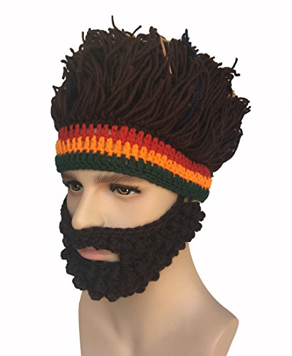 Kafeimali Barbarian Knit Bearded Hats Wig Mask Original Foldaway Funny Caps - http://coolthings.us