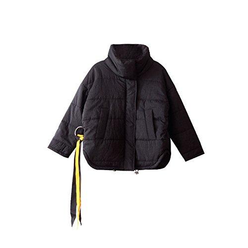 invierno negra ropa algodón costillas gruesa la cortas Chaqueta niña abrigo de Negro de algodón de dPvtwcvq1f