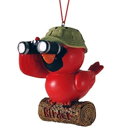 Birder Cardinal Bird Watcher Binoculars Christmas Tree Ornament