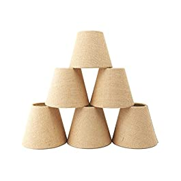 Set of 6 Linen Chandelier Shades, Warmstore Pendant Lamp Shades for Ceiling,Drum Shaped Clip On Shades, Hardback,Dia 3.5″Top x 6″Bottom x 5″H
