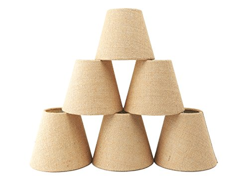 Natural Burlap Chandelier Shades Set of 6,Warmstore Drum Shaped Hardback Clip On Ceiling Lamp Shades,6 Inch For E12 Candelabra bulb (Shade Chandelier Burlap Drum)