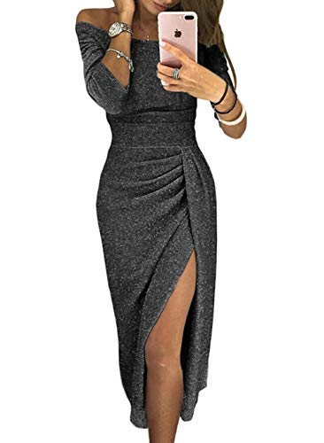 Womens Fall Off Shoulder High Slit 2018 Fashion Black Evening Party Prom Midi Dresses Shiny Night Sexy Bodycon Wedding Medium (US 8-10) Black