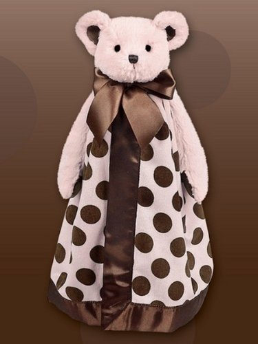 Bearington Baby 15'' Pink POSH DOTS Snuggler Blankie by Bearington