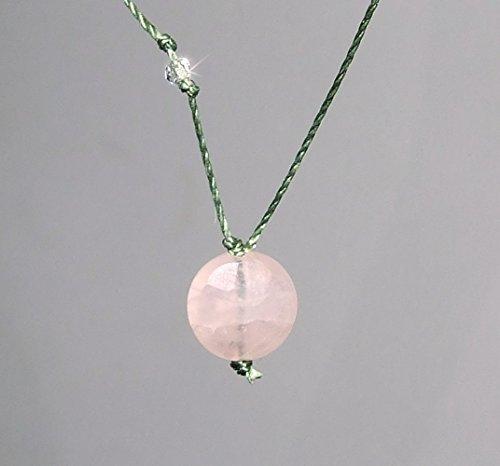 Heart Chakra Rose Quartz Coin Gem with Clear Quartz Cord Necklace, Minimalist, Healing (Quartz Faceted Coin)
