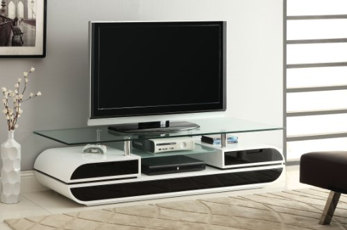 Glossy White Lacquer Finish - Furniture of America Glenn Contemporary TV Console/Stand, 63-Inch, Glossy Black and White