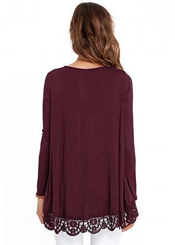 FISOUL Women's Tops Long Sleeve Lace Trim O-Neck A-Line Tunic Tops by FISOUL (Image #2)